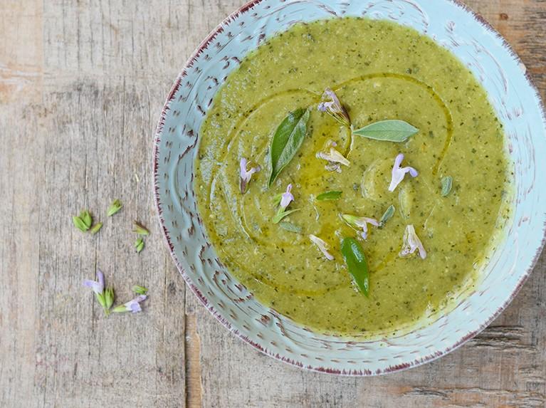 Cold Creamy Sage & Zucchini Soup